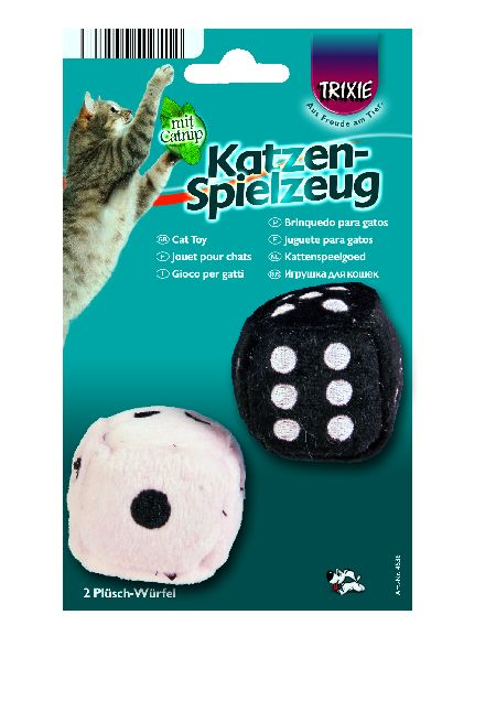 Šifra: 4536 2 plisane kocke za mace na konopcu, 4 x 4 x 4 cm crno-bele