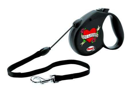 "Šifra: 21461 Flexi rock star ""dog lover"", crni"