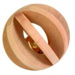 Šifra: 6187 Drvena lopta-lamela sa zvoncem za glodare, 6 cm